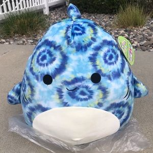 Squishmallow Blue TieDye Luther Shark Achoo Sneezy